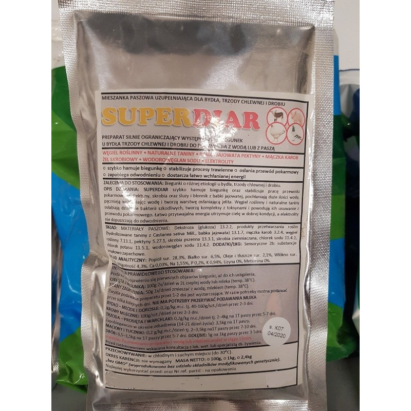 Superdiar-preparat na biegunkę dla drobiu,gołębi,bydła i trzody